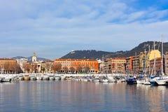 Ansicht über Hafen von Nizza, französischem Riviera, Frankreich Stockfotografie