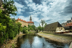 Ansicht über historische Mitte von Cesky Krumlov europa Stockbilder
