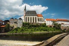 Ansicht über historische Mitte von Cesky Krumlov europa Stockfotos