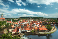 Ansicht über historische Mitte von Cesky Krumlov europa Stockbild