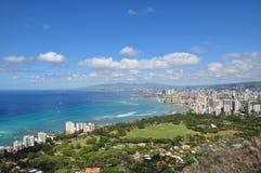 Ansicht über Honolulu vom Diamant-Kopf-Krater - Oahu lizenzfreie stockfotos