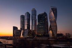 Ansicht über internationales Moskau-Stadt-Geschäftszentrum Lizenzfreie Stockfotos