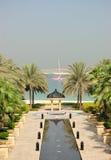 Ansicht über Jumeirah Palme vom luxuriösen Hotel Stockbilder