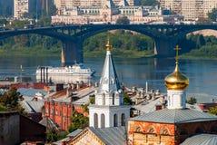 Ansicht über Kanavinsky-Brücke Nizhny Novgorod Russland Lizenzfreie Stockfotografie