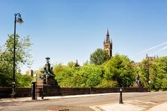 Ansicht über Kelvin Bridge in Glasgow von Kelvingrove-Park lizenzfreie stockbilder