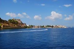 Ansicht über Korfu, Griechenland Stockfotografie