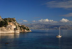 Ansicht über Korfu Griechenland Stockfotografie