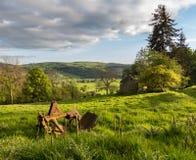 Ansicht über Llangedwyn-Tal mit Feldern und Wiesen Lizenzfreie Stockfotos