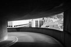 Ansicht über Lugano Gebäude von einem Architekturrahmen stockfotografie