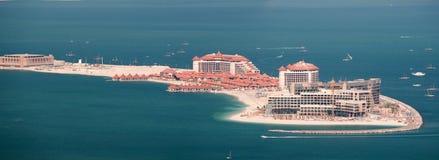 Ansicht über Luxushotels auf künstlicher Insel Palme Ju Stockfotos