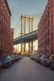 Ansicht über Manhattan-Brücke Stockfotos