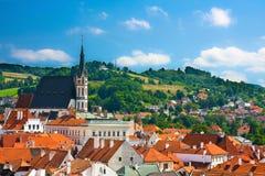 Ansicht über mittelalterliche Stadt Cesky Krumlov Lizenzfreie Stockfotografie