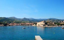 Ansicht über Mittelmeerdorf von Collioure, Frankreich Lizenzfreies Stockbild