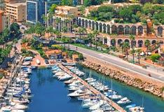 Ansicht über Monaco-Hafen, Cote d'Azur Stockbild