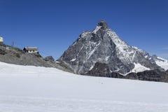 Ansicht über Monte Cervino von Klein Matterhorn Stockfotografie