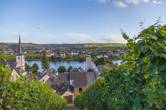 Ansicht über Mosel und Weinberge in Deutschland Piesport Stockfotos