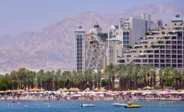 Ansicht über Nordstrand von Eilat, Israel Lizenzfreie Stockfotos