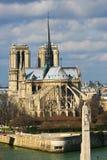 Ansicht über Notre- Damekathedrale, Seine, Paris Lizenzfreies Stockfoto