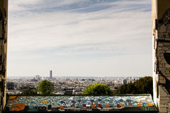 Ansicht über Paris von Standpunkt Belvédère de Belleville lizenzfreies stockbild