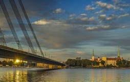 Ansicht über Präsidentenpalast in der Stadt von Riga, Lettland, Europa stockfotografie