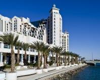 Ansicht über Promenade und Hotels in Eilat, Israel Stockfoto