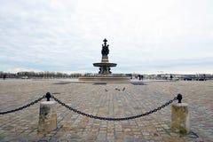 Ansicht über quadratische de la Bourse, Bordeaux, Frankreich Lizenzfreie Stockbilder