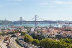 Ansicht über Reisestadt Lissabon vom Spitzenplatz Stockfotografie