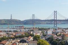 Ansicht über Reisestadt Lissabon vom Spitzenplatz Lizenzfreie Stockfotografie