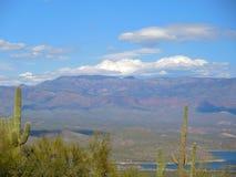 Ansicht über Roosevelt Lake zu den Aberglaube-Bergen lizenzfreie stockfotografie