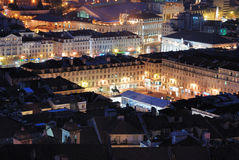 Ansicht über Rossio in Lissabon lizenzfreies stockbild