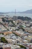 Ansicht über San Francisco u. Golden gate bridge von Coit-Turm Stockbild