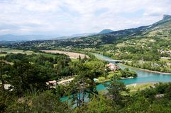 Ansicht über Sisteron Tal, Frankreich Lizenzfreie Stockbilder