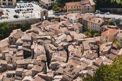 Ansicht über Stadt Entrevaux, Frankreich, Europa Lizenzfreie Stockfotos