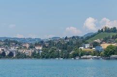 Ansicht über Stadt von Montreux Stockbild