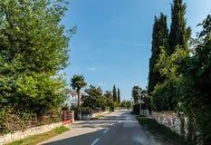 Ansicht über stille Landstraße mit grobem Stein und grünen Zäunen Stockbilder