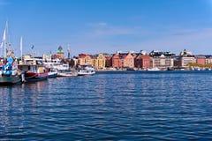 Ansicht über Stockholm-Häuser Stockbild