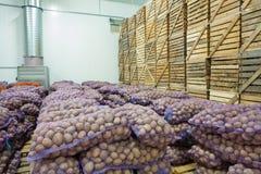 Ansicht über Taschen und Kisten der Kartoffel im Speicherhaus stockfoto