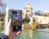 Ansicht über Tastatur und Schirm Barcelona teich Park spanien Detail stockbild