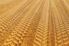 Ansicht über traks auf Sand Lizenzfreie Stockbilder