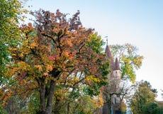Ansicht über Turm in Augsburg während des Herbstes stockfoto