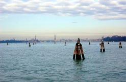 Ansicht über Venedig von Lido-Insel, Italien Lizenzfreies Stockbild