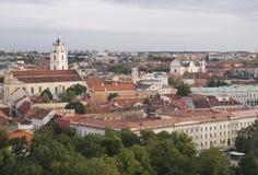 Ansicht über Vilnius von der Dachspitze Stockbild