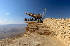 Ansicht über Wüste des Negev in Mizpe-Ramon, Israel Lizenzfreies Stockfoto