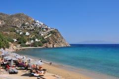 Ansicht über weiße Häuser von MYkonos-Stadt auf griechischer Insel Lizenzfreie Stockfotos