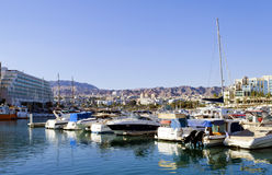 Ansicht über zentralen Jachthafen in Eilat, Israel Lizenzfreies Stockfoto