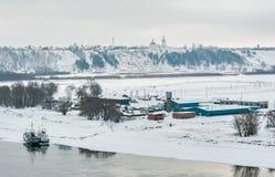 Ansicht Abalak Znamensky am Kloster und an der Fischanlage Stockfoto