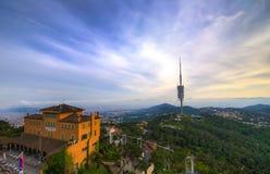 Ansicht Barcelona von Tibidabo-Hügel Stockbilder