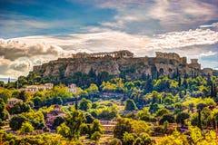 Ansicht über Akropolis vom alten Agora, Athen, Griechenland Stockbilder