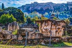 Ansicht über Akropolis vom alten Agora, Athen, Griechenland Stockfotografie