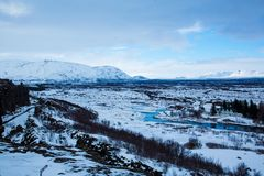 Ansicht ?ber den Nationalpark Thingvellir in Island stockfotos